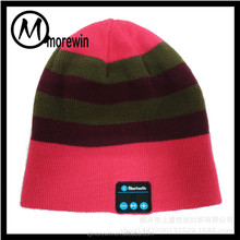 Morewin Factory Wholesale New Product Colorful Knit Beanie Hat and Cap Bluetooth Music Hat