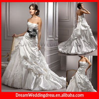 Strapless Mermaid Satin Lace Cute Bridal Gown 2013 With Black Sash