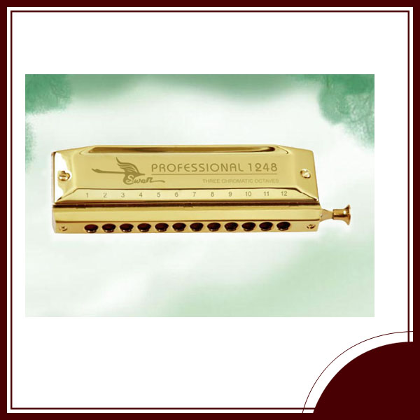 high quality SWAN 12 hole 48 tone chromatic golden laser-printing harmonica