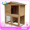 Natural Wood Color Wooden Pet Rabbit Hutch House with Ramp and Tray