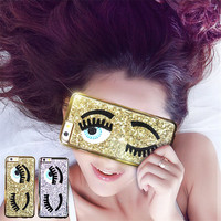"Fashional 3D Cute Style Sequins Following Flirting Eyes Phone Cases for iPhone 6 4.7"" 5.5"" Back Covers"