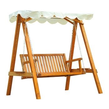 Wooden Swing Chair Outdoor Patio Furniture Waterproof Canopy 2 Person