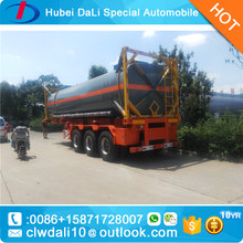 carbon steel tank truck trailer / 30m3 54T concentrated sulfuric acid / hydrochloric acid /Chemical liquid truck