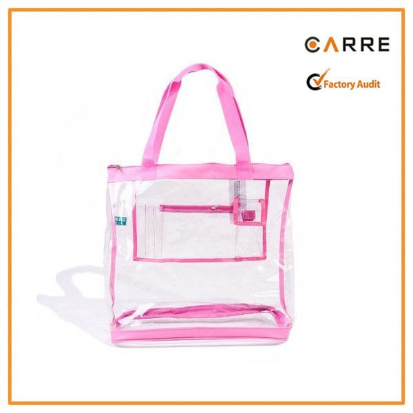 Large clear pvc tote bag with inner pocket