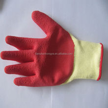 Crinkle latex finish cotton lined rubber gloves