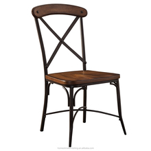 FC-CH-M-022 antique design rustic wood finish metal dining chair