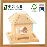 china factory FSC&SA8000 handmade wooden stand bird cage feeder for shopping christmas crafts