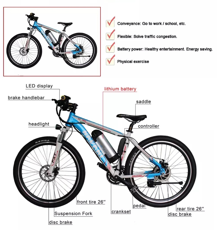 Kavaki Mountain Electric 26 inch 36v lithium rechargeable battery Bicycle