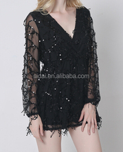 deep V neck long sleeves women club fringle sequins leotard wrap dress