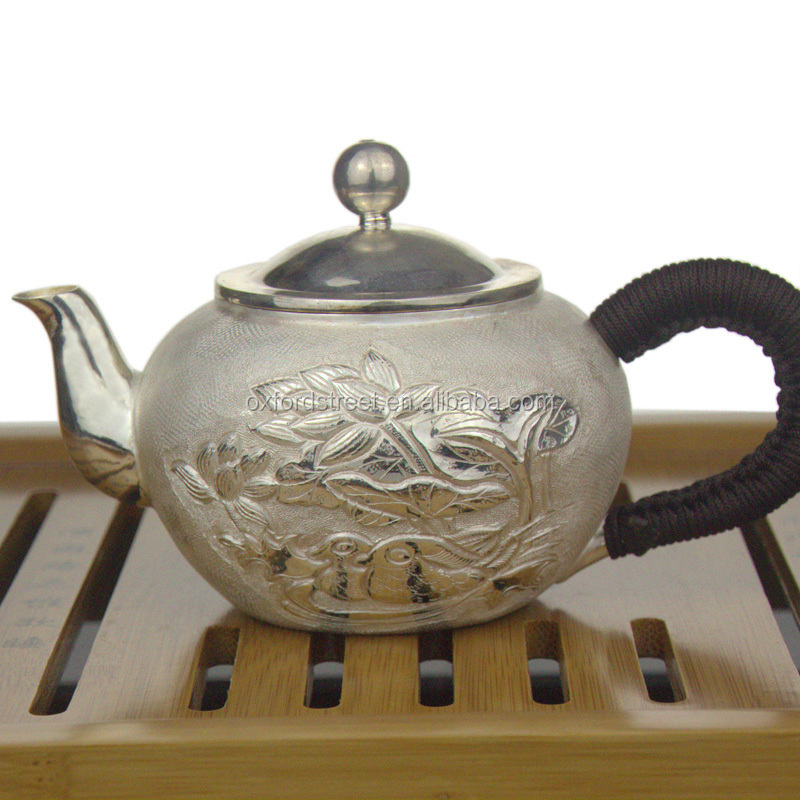 Tea Silverware Supplier Design Silver Flower Pattern Small TeaPot <strong>C026</strong>