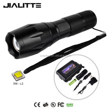 Jialitte F086 High Power Zoom CREEs XML L2 Led Flashlight Tactical G700 flashlight Torch Light set with Battery and Charger