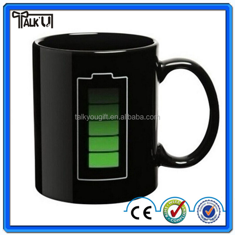 Creative Battery heat sensitive sublimation color changing ceramic drinking coffee/tea mug cup for promotional Gift