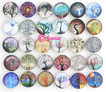 Interchangeable Snap Jewelry Findings 18mm Cabochon Buttons Life Tree Buttons for Snap Jewelry Necklace Bracelet Ring Earrings