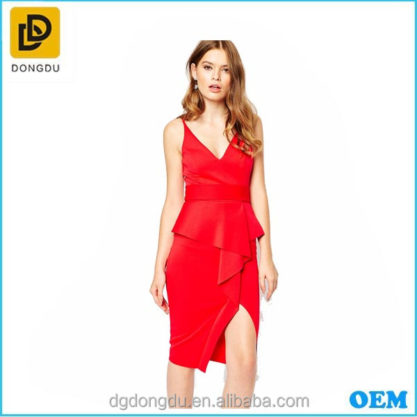 American Red Strapless Midi Length Prom Dress /Backless Bandage Sexy Deep v Neck Dress