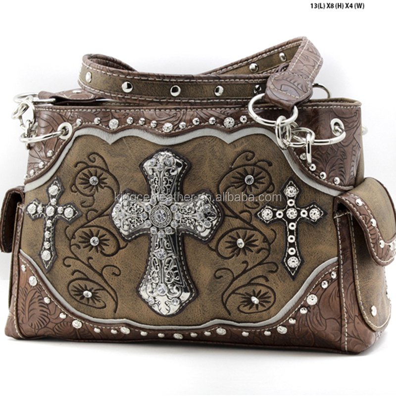 WESTERN RHINESTONE HANDBAGS CROSS STUDDED CONCEALED WEAPON PURSES FOR WOMEN