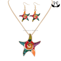 Multicolor Starfish Necklace Earring Jewelry Set In Latest Design