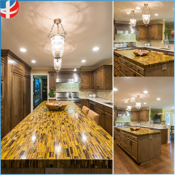Clasic Natural Gemstone Tiger Eye dinning table kitchen countertop counter