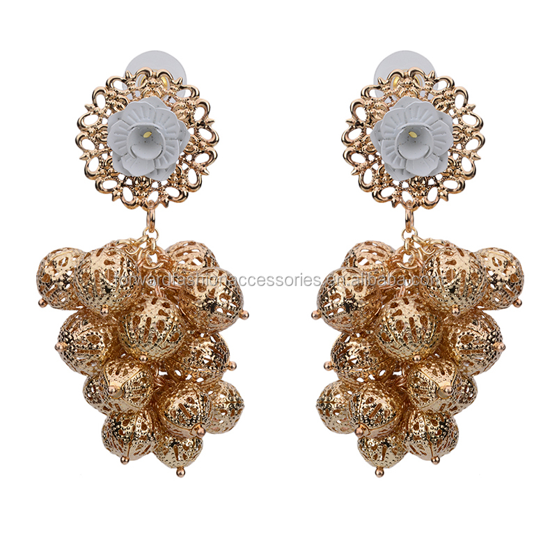 <strong>fashion</strong> hanging dubai brass balls cluster stud earring