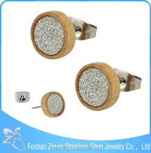 India fashion wood jewelry druzy stud earring for man or woman