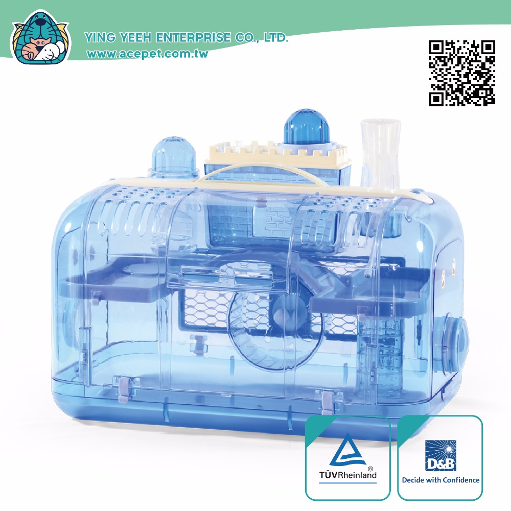 new premium rectangle Transparent plastic hamster cage Equipped with Fancy Fort Viewing platform