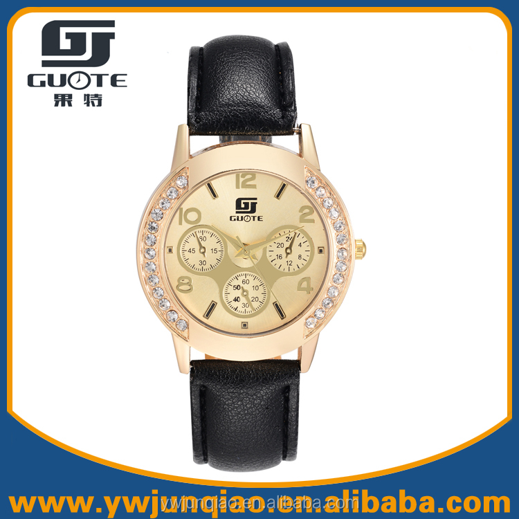 Good Price Wholesale Crystal Diamond Quartz Leather Watches China Watches Women Accept Paypal