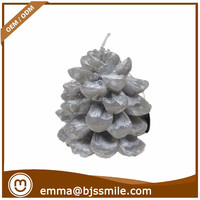 Cheap hot sale handmade home decoraction craft silver Christmas pinecone conifer cone shaped candle