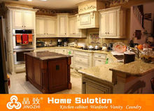 White color solid wood furniture customized solid wood kitchen cabinet