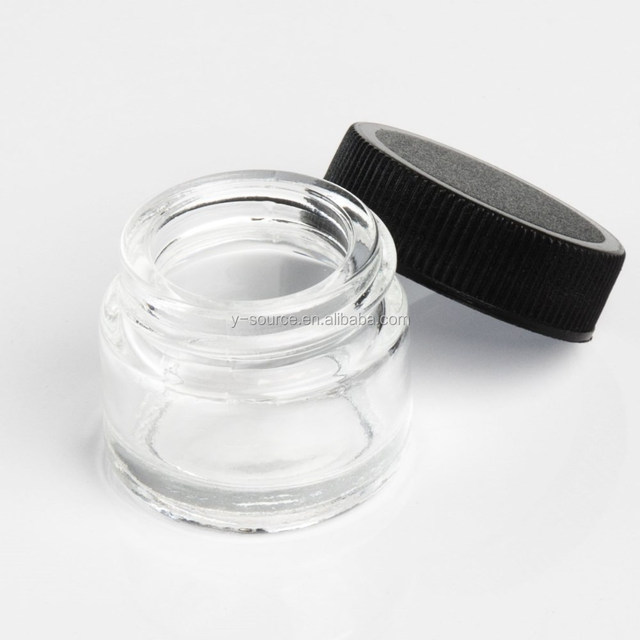 5ml clear glass jars containers with colored plastic screw top lid