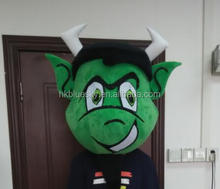 Custom mascot head handmade green bull mascot head