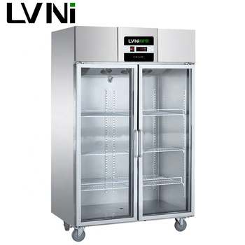 LVNI factory hotel kitchen restaurant 4 glass doors display upright refrigerator freezer