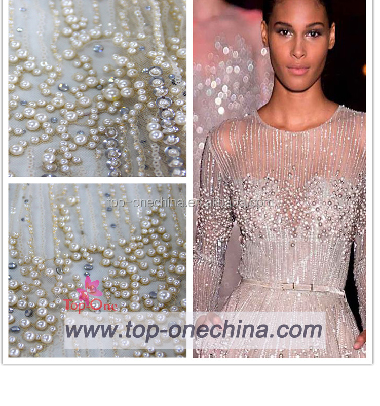 Textile china supplier beaded lace baric /hand beaded embroidery lace fabric/beaded bridal embroidery lace
