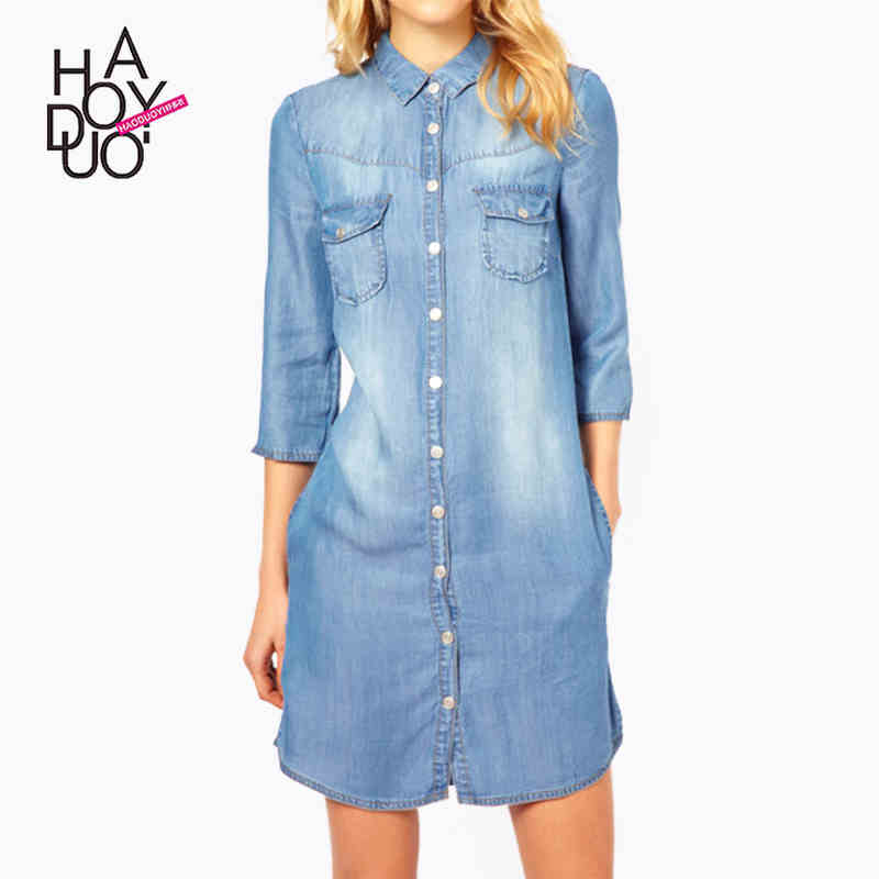 HAODUOYI 2016 Autumn New Fashion Women Sexy Washed Denim lapel Dresses Long Sleeve Mini Volume Show Dresses for Wholesale1