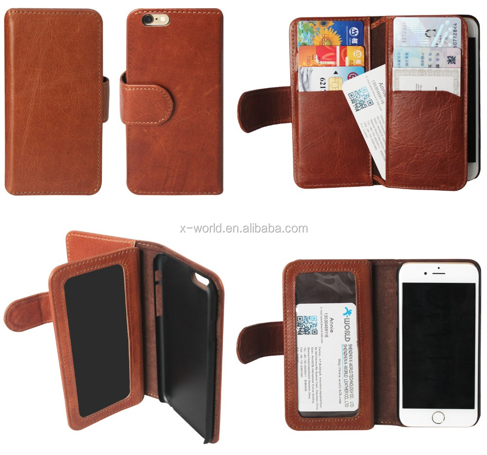 flip leather case for iphone 6 with 6 Card Slots