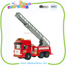 Sound and light scaling ladder friction fire truck toy car