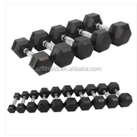 Factory Directly Black Rubber Hex Dumbbell