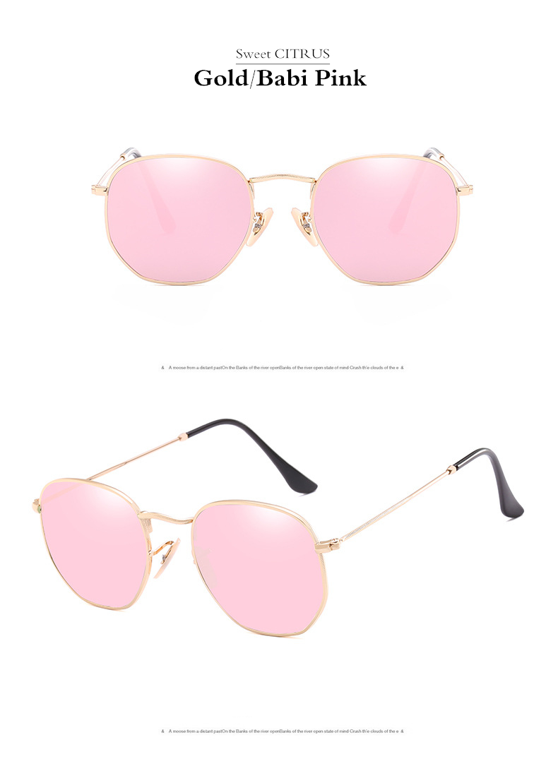 HTB16WM7gBDH8KJjSszcq6zDTFXar - Sweet CITRUS Hexagonal Aviation Coating Mirror Flat Lens Sunglasses Men Brand Designer Vintage Pink Driving Sun Glasses Women