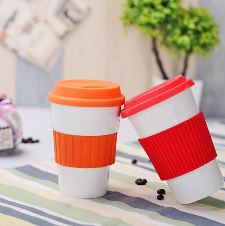 Custom colorful travel cup ceramic coffee mug with silicone lid and sleeve