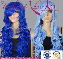 fashion long wavy blue color cosplay wigs synthetic wig