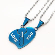 "His & Hers Matching Chain Stainless Steel ""I Love You"" Key Heart Couples Pendant Necklace Set Promise Jewelry"