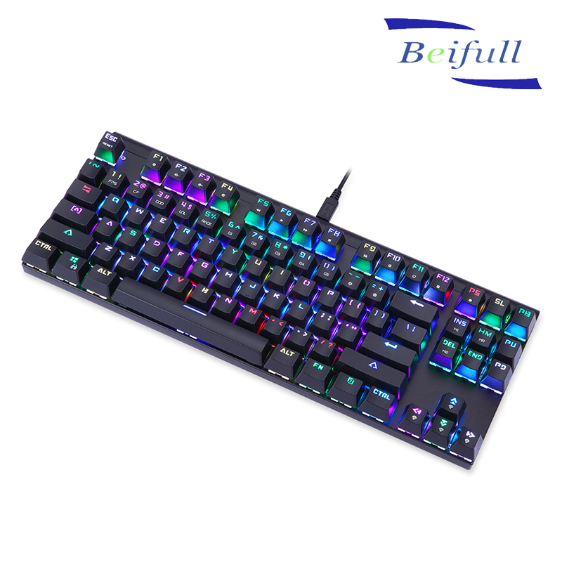 Portable 87 keys USB wired Real Mechanical Keyboard for gaming
