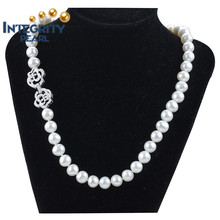 New Arrival freshwater pearl10mm aa 925 silver potato pearl necklace