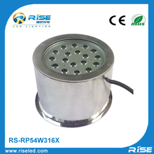 54W stainless steel IP68 waterproof underwater recessed fountain boats parts light