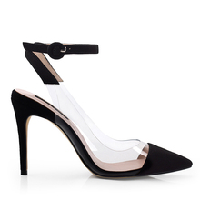 pointy toe different colors Transparent ankle strap PVC high heel wedding shoes for ladies 2018