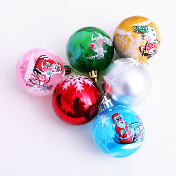 Wholesale Ornaments Personalized 8cm Plastic Christmas Ball With A Full-Color Logo