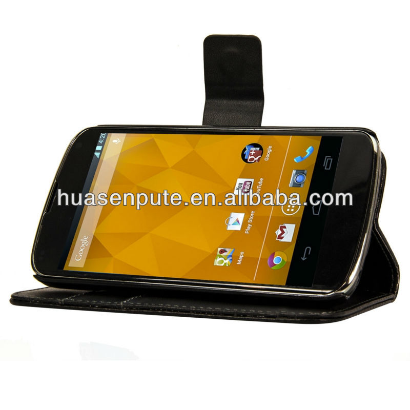 Wallet Leather Case for Google LG Nexus 4 E960 Stand Case with Card Slots