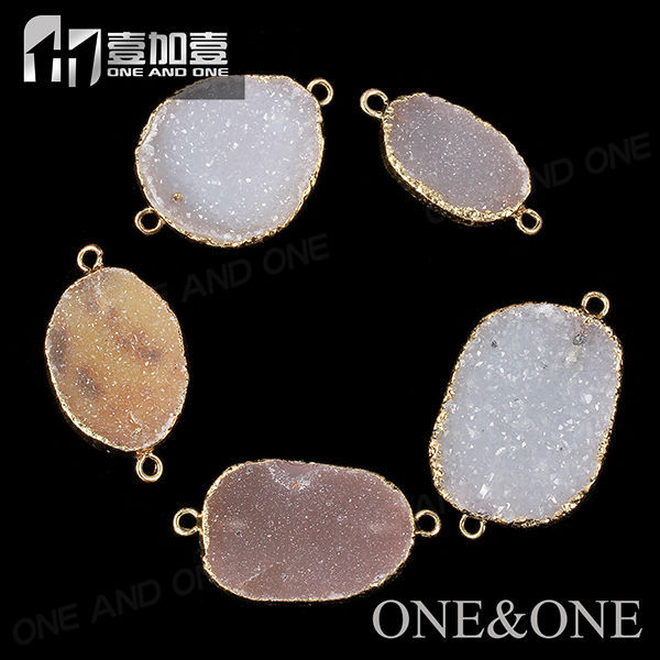 China Wholesale Oval Natural Agate Druzy Gold Jewelry Pendant Charm Connector Fashion Pendant