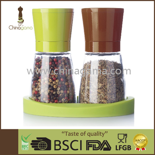 2pcs set 6OZ 170ml Food Grade Manual Colorful Spice Miller set
