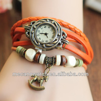 Hot Sale Fashion women Multilayer Rivet Bracelet Punk Leather Watch vintage watches