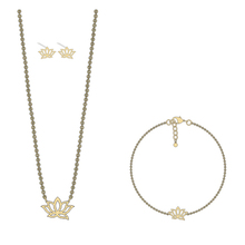 Newest Design Dainty Lotus Flower Outline on 18k Gold Filled Delicate Lotus Fashion Dubai Gold Jewelry Set