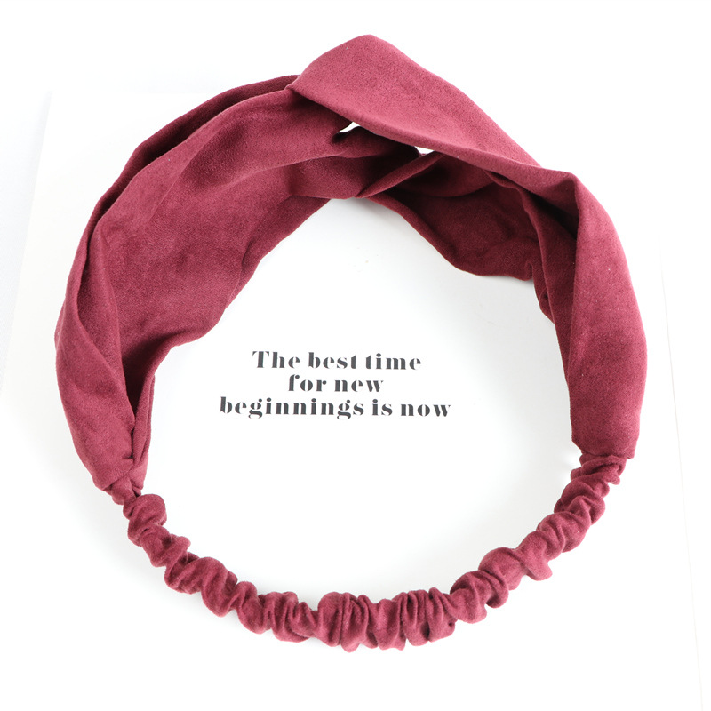 Japanese and Korean Trendy New Solid Color Knot Headband Suede Head Wrap Headband for Women